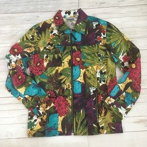 chicos womens 0 (s) colorful jacket zipup floral j